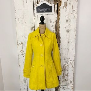 Anthropologie Tulle Wool Yellow pea coat